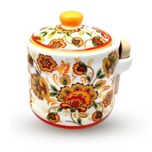 "Банка для меда ""Цветочная роспись"" 420мл. S&T"