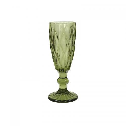 """Бокал для шампанского Olens """"Изумруд"""" 150мл. зеленый 1шт. стекло СХ-34215-5-1 Китай"""