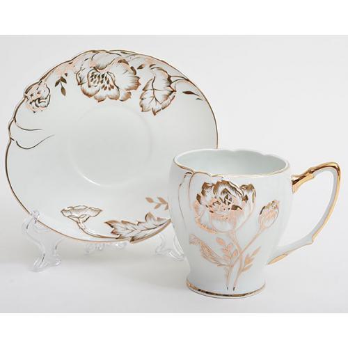 Чайний набір Bona Di 2пр. 220мл.(золота троянда)