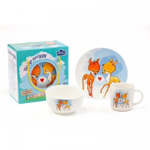 Набір посуду дитячий Milika Bembi Loves 3 пр порцеляна М0690-КS-2001