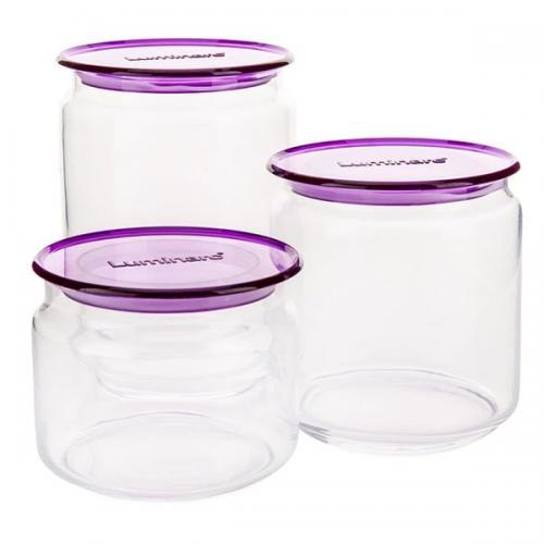 Набор банок Rondo Ice purple 3пр. Luminarc