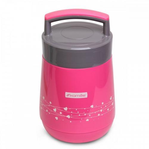 Термос Kamille 1,4 л  рожевий пластик КМ-2022
