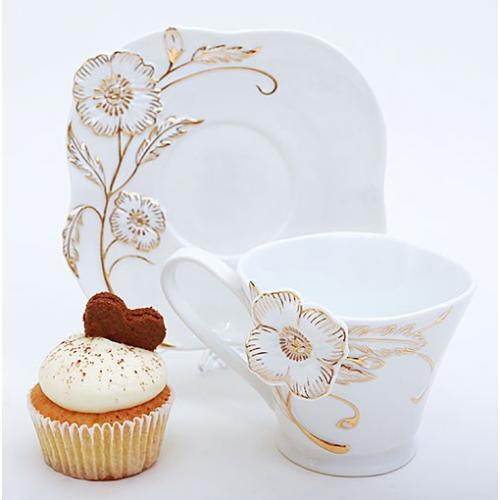 Чайний набір Bona Di 2пр. 220мл.(квітка золота)