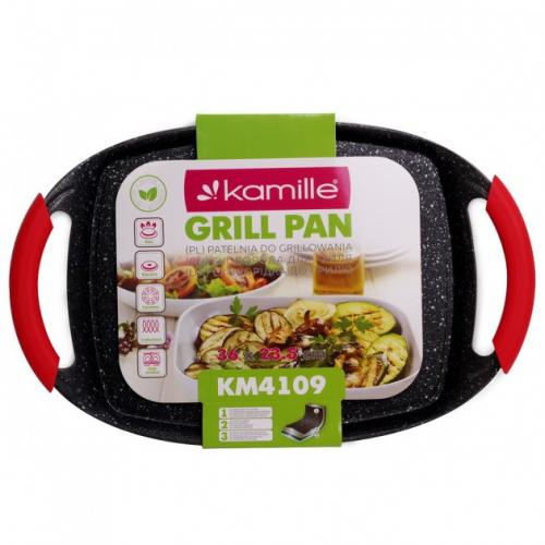 Сковорода Kamille гриль 36х23,5см. Black marble Kamille 4109 Китай
